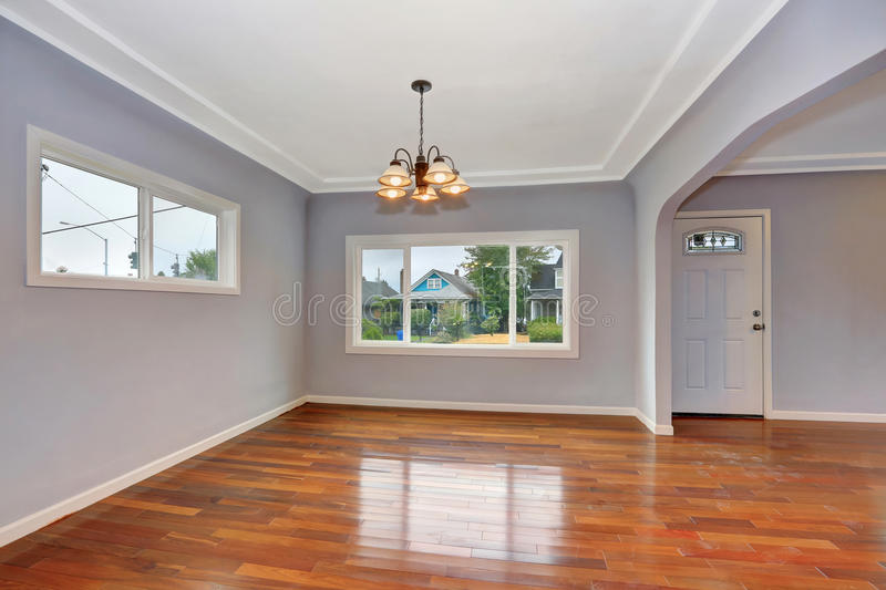 Empty Old house interior. Entryway with hardwood floor. And lavender walls. Northwest, USA stock photography