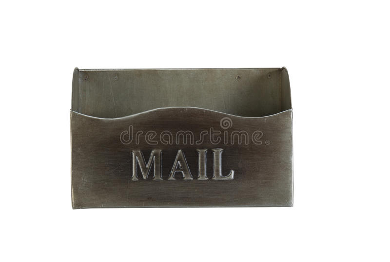 Empty Old Metal Mailbox isolated on white stock images