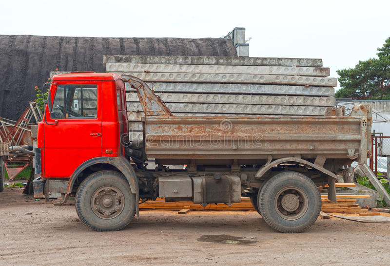 Empty old soviet tipper truck. royalty free stock photo