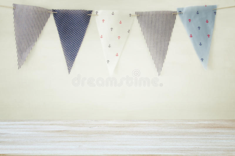 Empty old table in front of Carnival and Birthday party background. Useful for product display montage stock images