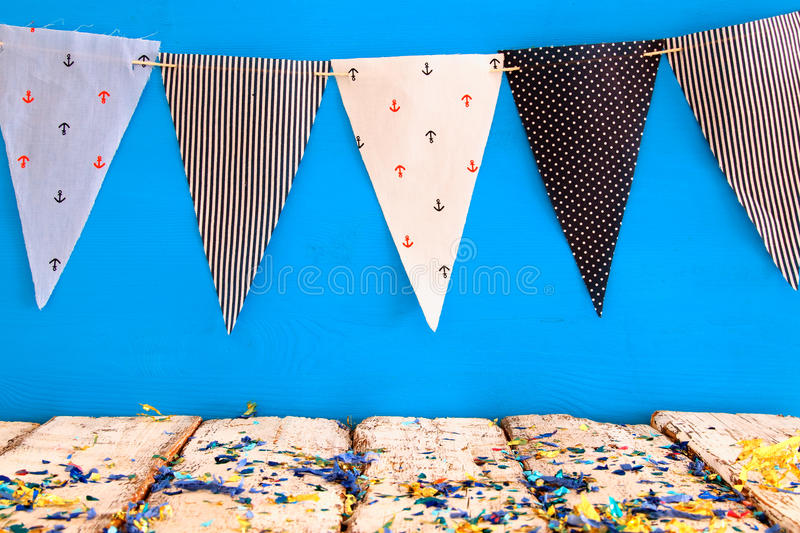 Empty old table in front of Carnival and Birthday party background royalty free stock images