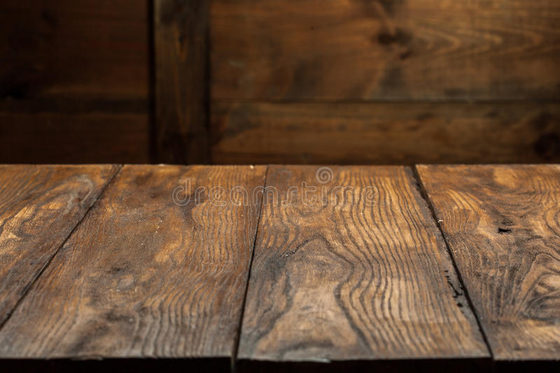 Empty old wooden table stock image of close stump