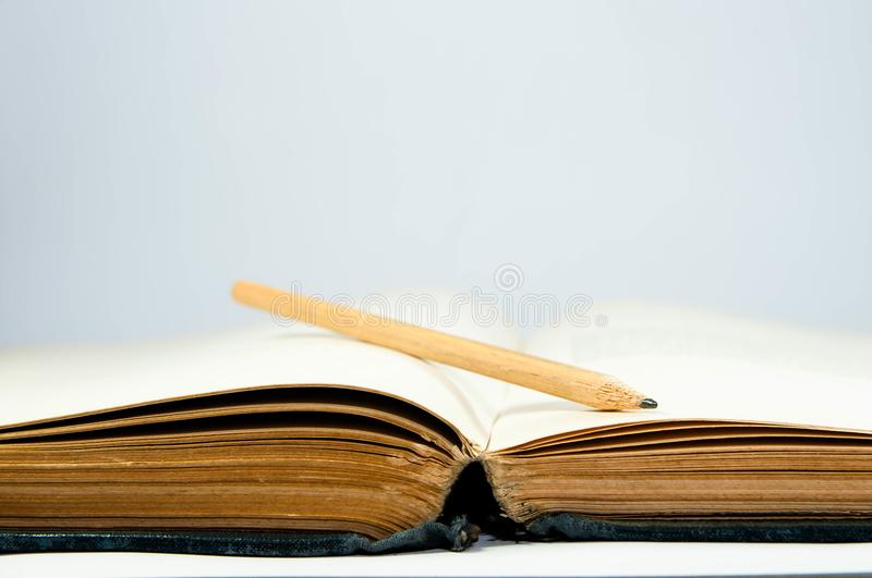 Empty, old, yellow opened book pages royalty free stock photo
