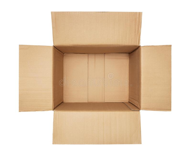 Empty open cardboard box royalty free stock photography