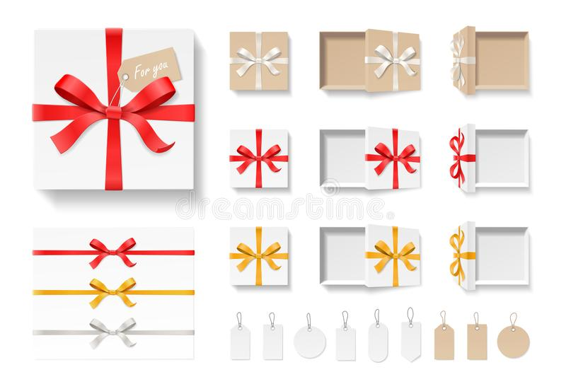 Empty open craft gift box, red color bow knot, ribbon and tag set isolated on white background. Happy birthday vector illustration