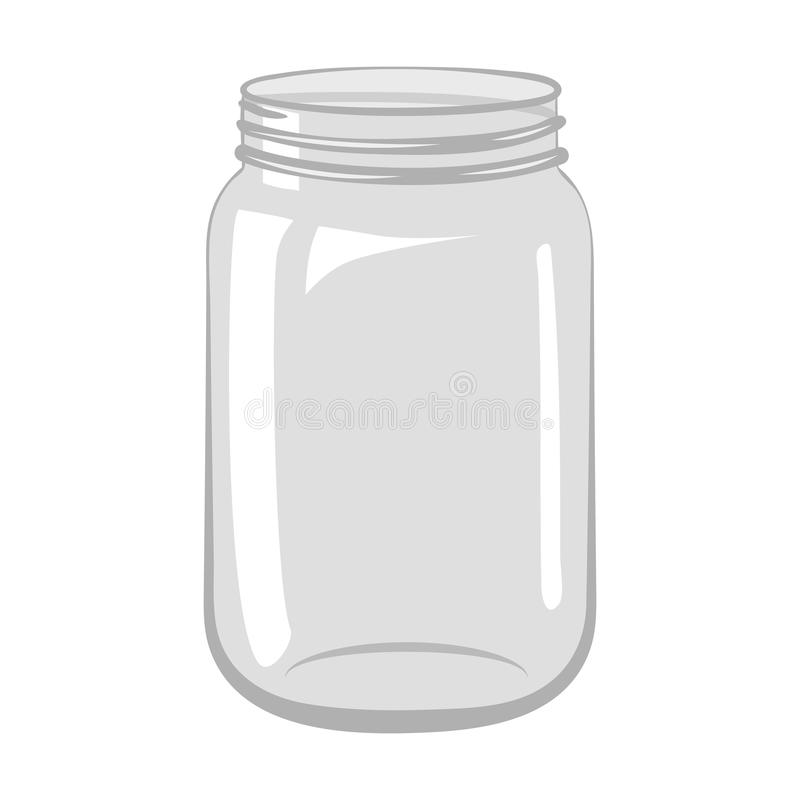 empty open glass jar isolated on white background stock vector