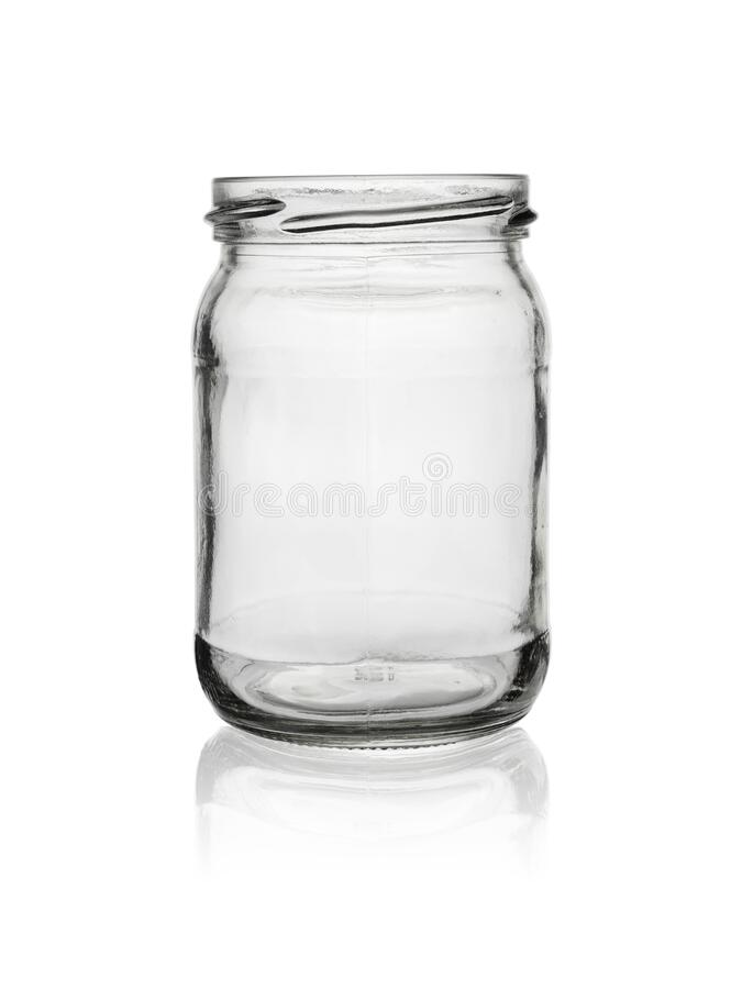 Free Empty, Open Jar Of Clear, Colorless Glass. Isolated On A White Background With Reflection Stock Photo - 215542710