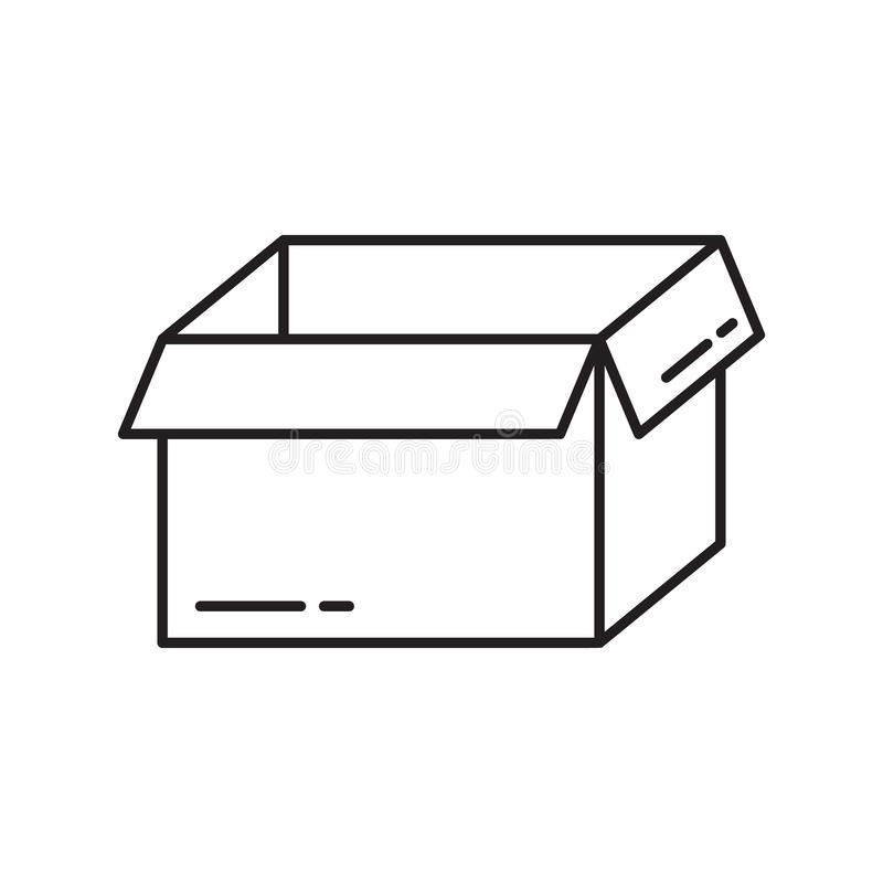 Empty open packaging box icon. Thin line art template for logo. Black and white simple illustration. Contour hand drawn isolated royalty free illustration