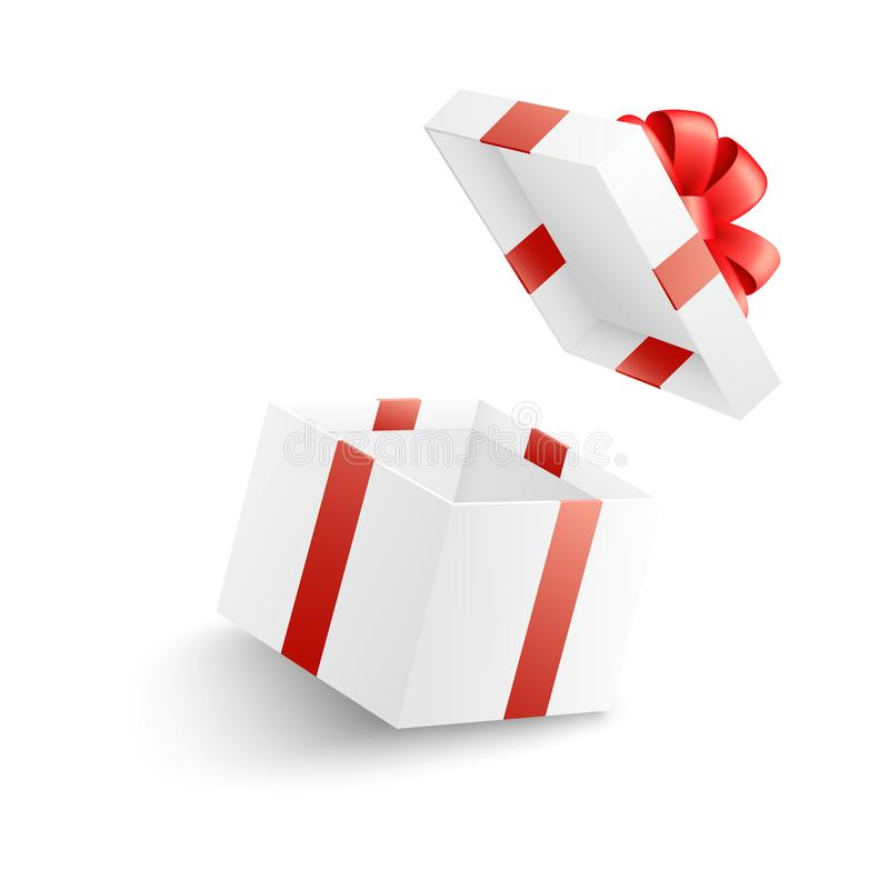 Empty open white gift box with red ribbon, bow and flying cover. stock illustration