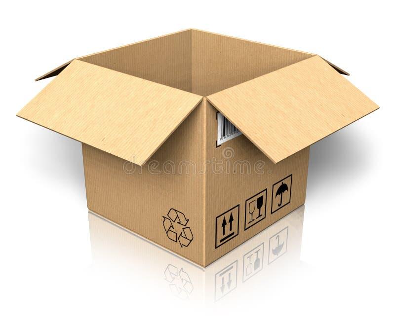 Empty opened cardboard box. Isolated on white reflective background stock illustration