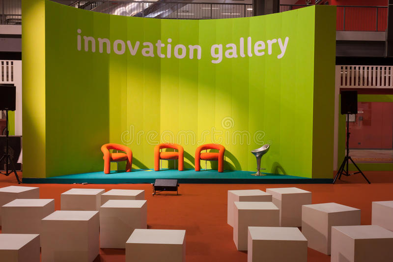 Empty Orange Chairs At Host 2013 In Milan, Italy Editorial Photography