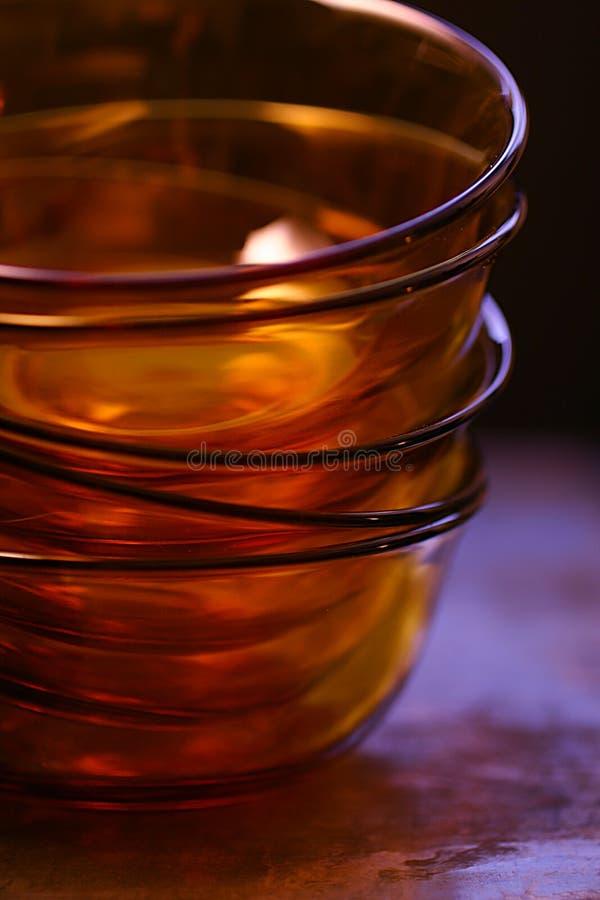 Empty Orange Glass Bowls Stock Photo