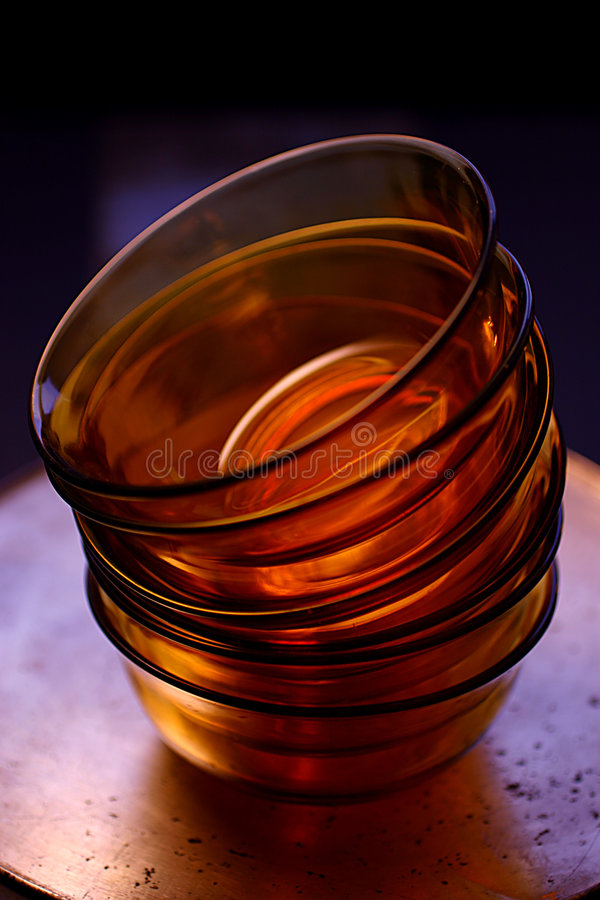 Empty Orange Glass Bowls Stock Image