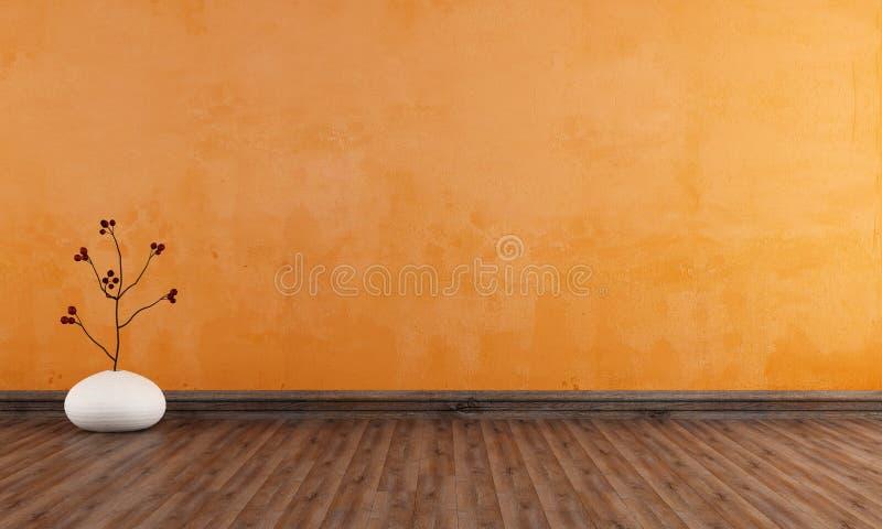Empty orange room vector illustration