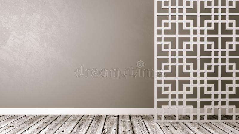Empty Oriental Style Room with Copyspace stock illustration