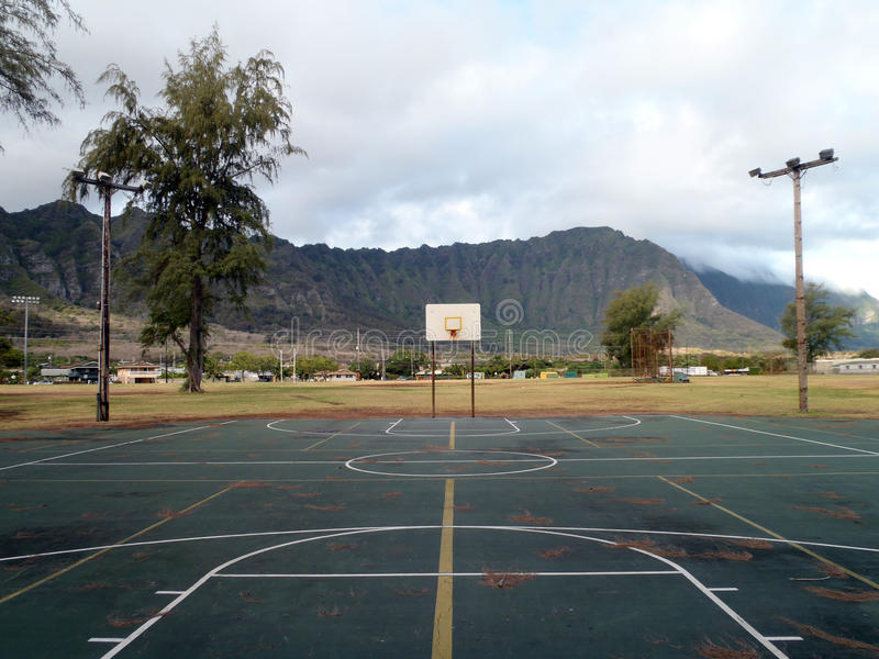 Empty Outdoor Basketball Court In Waimanalo Stock Image ...