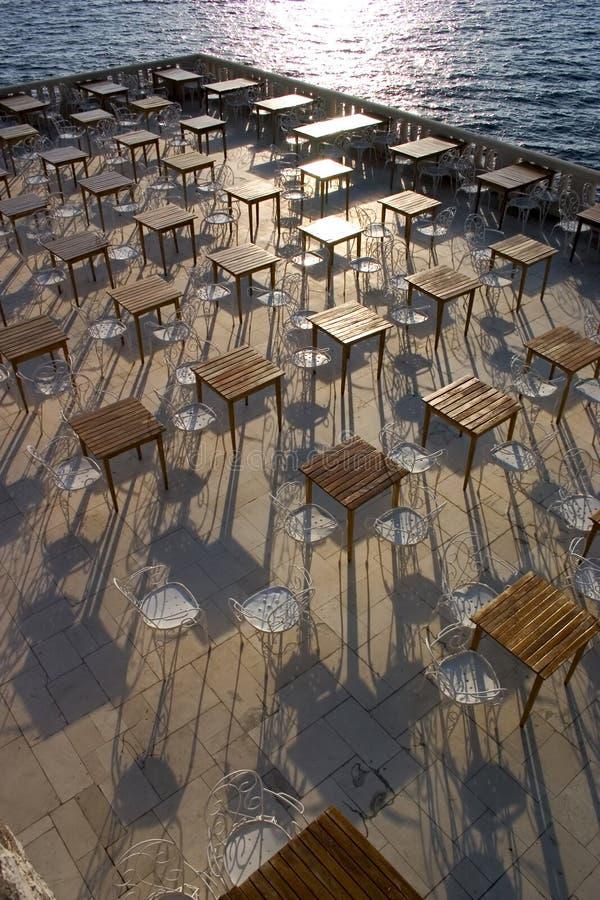 Empty outdoor restaurant. royalty free stock image