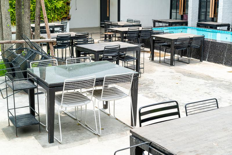 Empty outdoor table and chair. In restaurant royalty free stock images