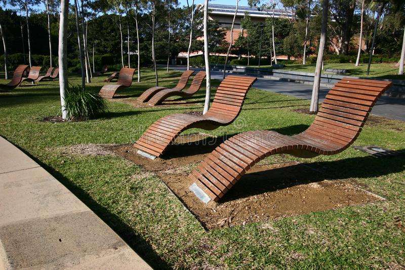 Empty outdoor wood slat chaise lounge chairs hovering above grass in park at University of Sydney, Australia. Unoccupied wooden reclining loungers floating above royalty free stock photos