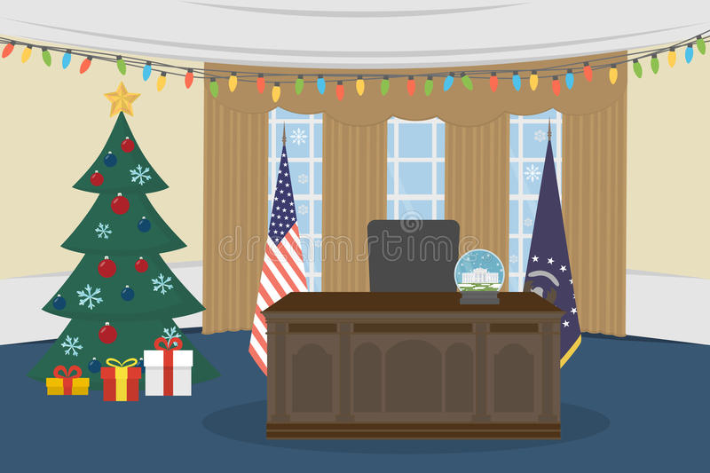 Empty Oval Office. Oval Office in the White House with christmas tree royalty free illustration