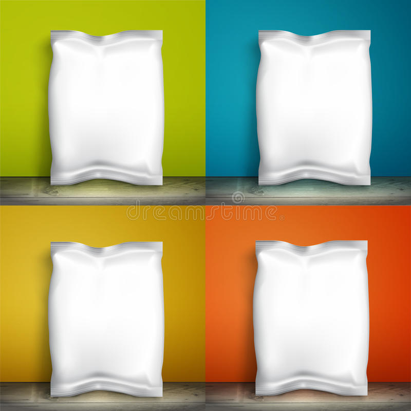 Empty packaging design chips, candy, cookies, cereals and other products royalty free illustration