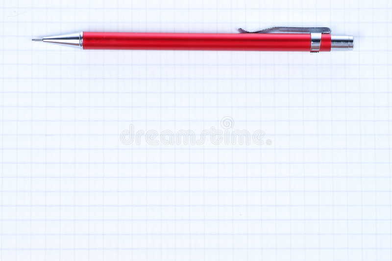 Empty page and red pencil. Empty page of notebook and red pencil stock image