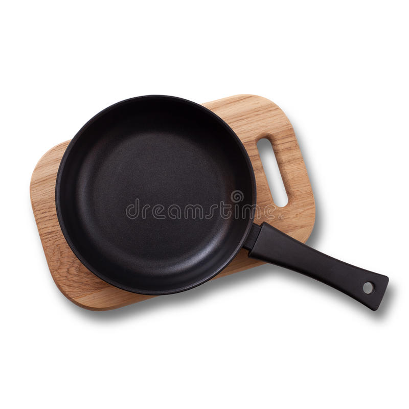 Empty pan on wooden deck . Top view. royalty free stock image