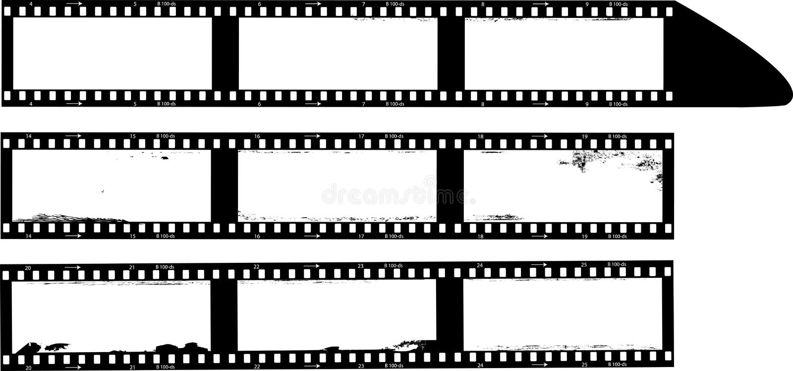 Empty panorama photographic film, film negatives, photo frames, on grungy paint splashes background,copy space,vector stock image