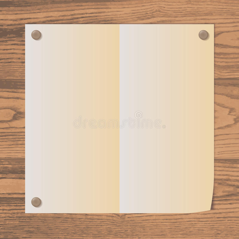 Empty paper attached to wooden texture with rivets. Old styled blank empty paper sheet attached with rivets on a rustic wooden texture background. organic frame vector illustration