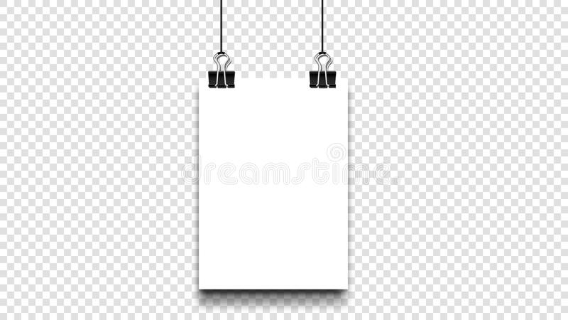 Empty A4 Paper Blank With Binder Clip Hang On Isolated Transparent Background. Vector Template.  royalty free illustration