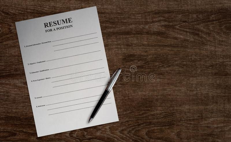 Empty paper blank resume royalty free stock photos
