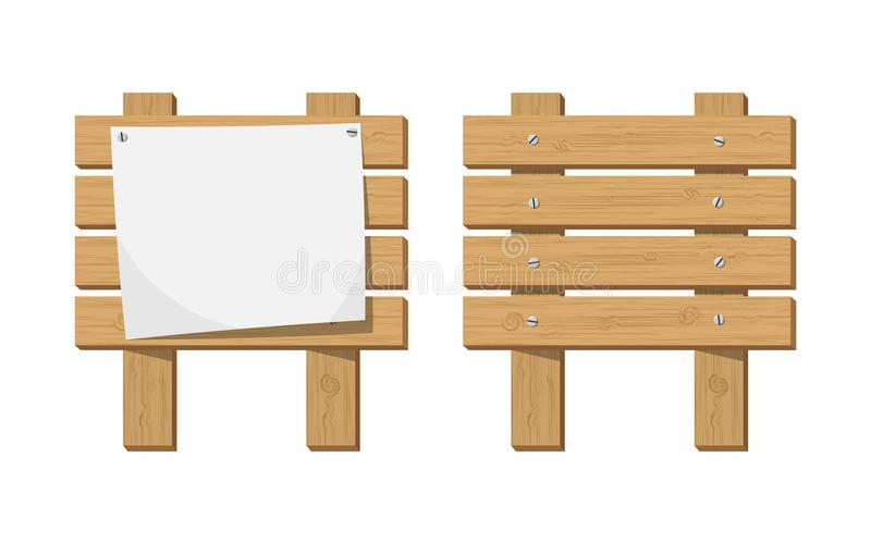 Empty paper blank on wooden signboard. Announcement board with paper placard. Vector illustration in flat style stock illustration