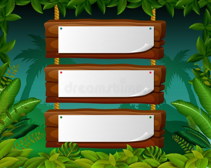Empty paper blank on wooden signboard in the forest. Illustration of Empty paper blank on wooden signboard in the forest stock illustration