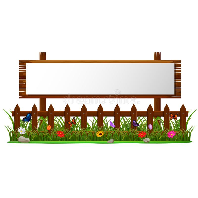 Empty paper blank on wooden signboard in the garden. Illustration of Empty paper blank on wooden signboard in the garden royalty free illustration