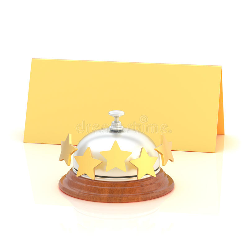 Empty paper card behind reception bell vector illustration