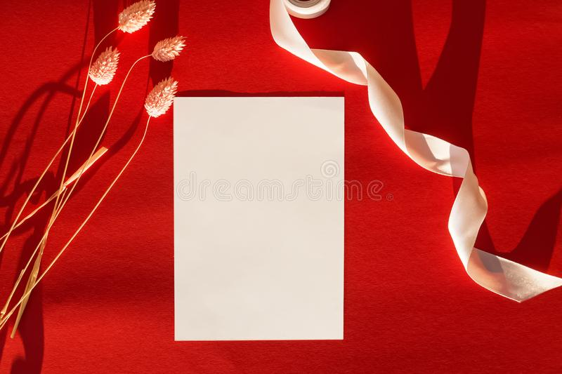 Empty paper card mock-up on the table with dry flowers and ribbon in natural sunlight royalty free stock photos