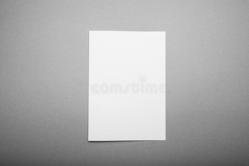 Empty A4 paper on a gray background, a place for design royalty free stock photo