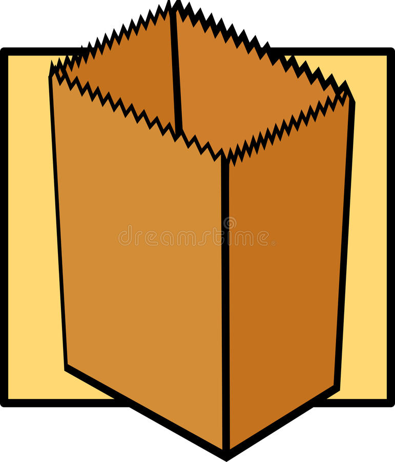 Empty paper grocery bag. Illustration of an empty paper grocery bag stock illustration