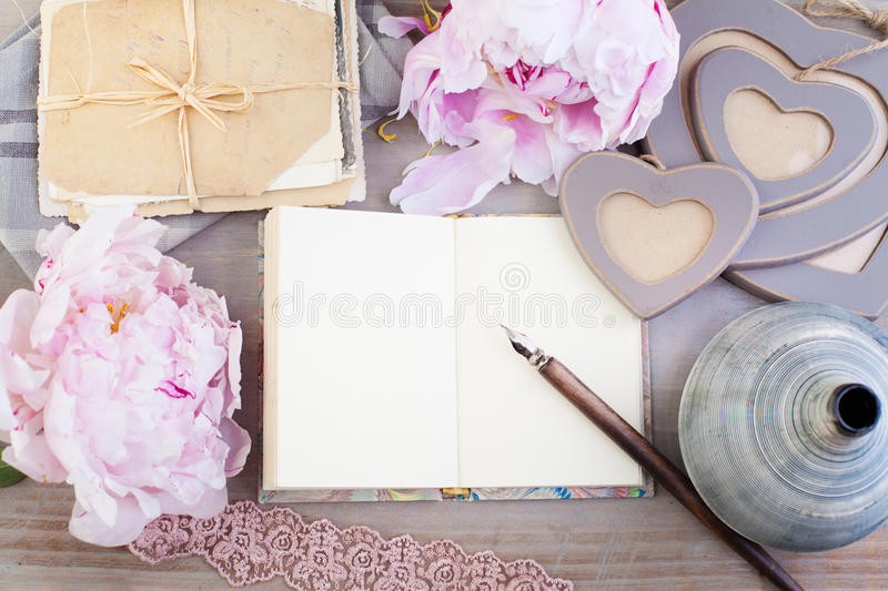 Empty Paper, Old Letters, Post Cards. On Vintage Background royalty free stock image