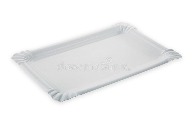 White Empty Clean Paper Plate White Background Stock Images