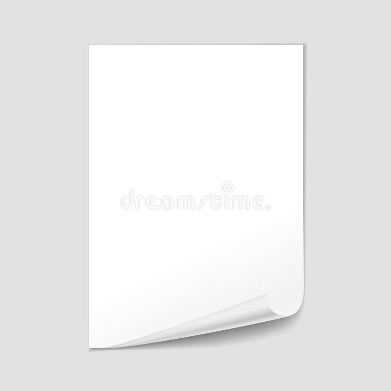 Empty paper sheet blank with page curl, realistic vector.  vector illustration