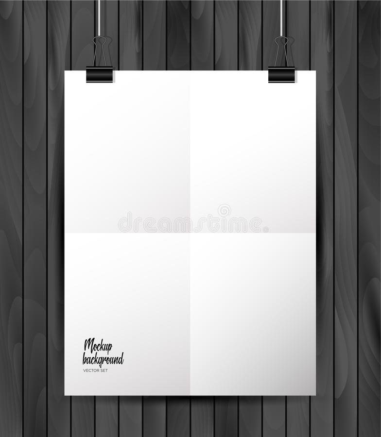 Realistic Mockup White Texture Paper Background: Vector Blank Paper A4 Sheet On Wooden Background . Stock