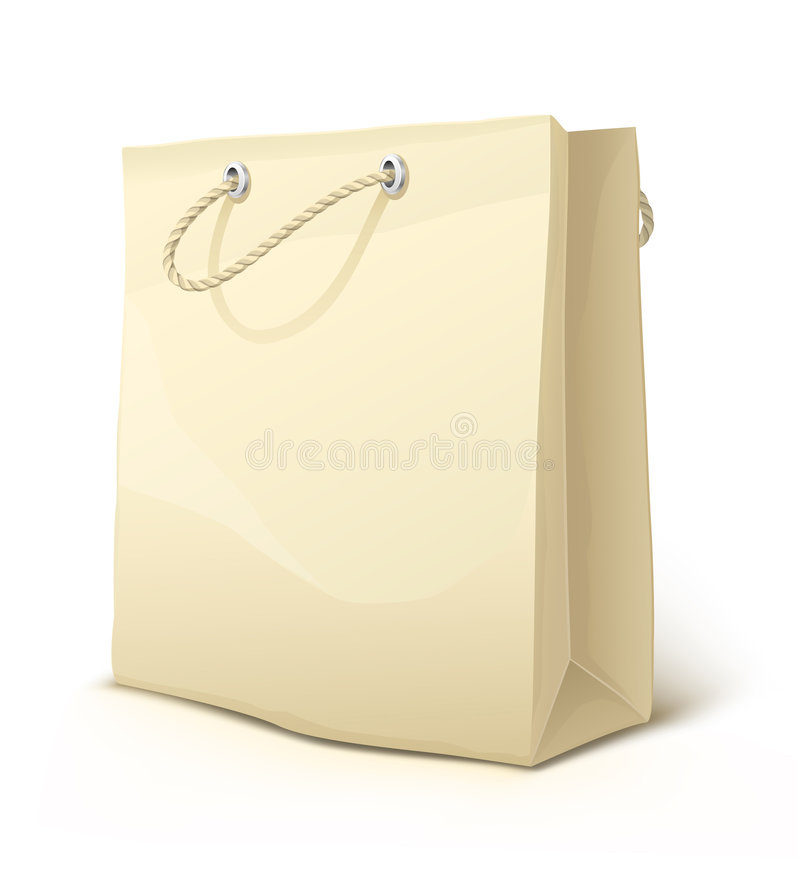 Empty paper shopping bag with handles isolated vector illustration
