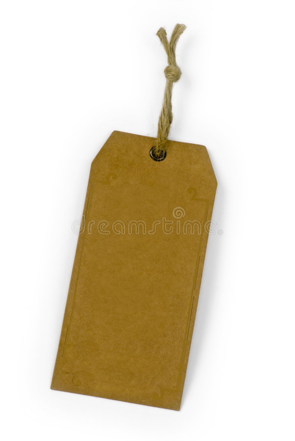 Empty paper tag tied with brown string royalty free stock photo