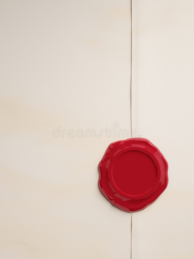 Empty Parchment with Red Wax Seal stock illustration