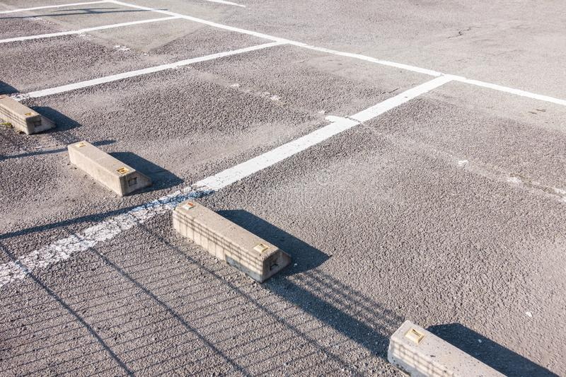 Empty parking lot. In outdoor parking area stock images
