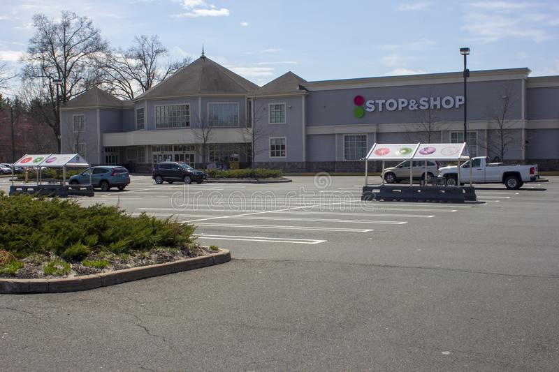 Empty Parking Lot During Stop & Shop Strike stock photography