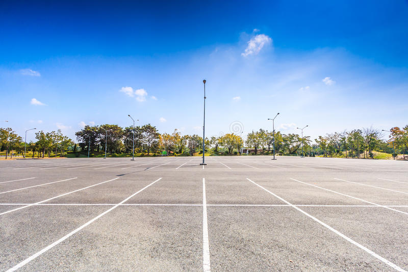 Empty parking lot. Where is the public place royalty free stock photo