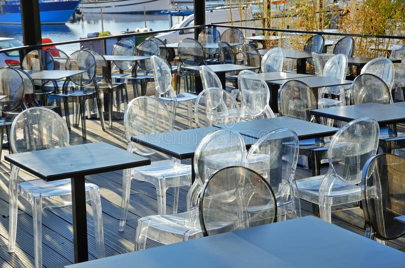 Sidewalk restaurant in the port of Ajaccio royalty free stock images