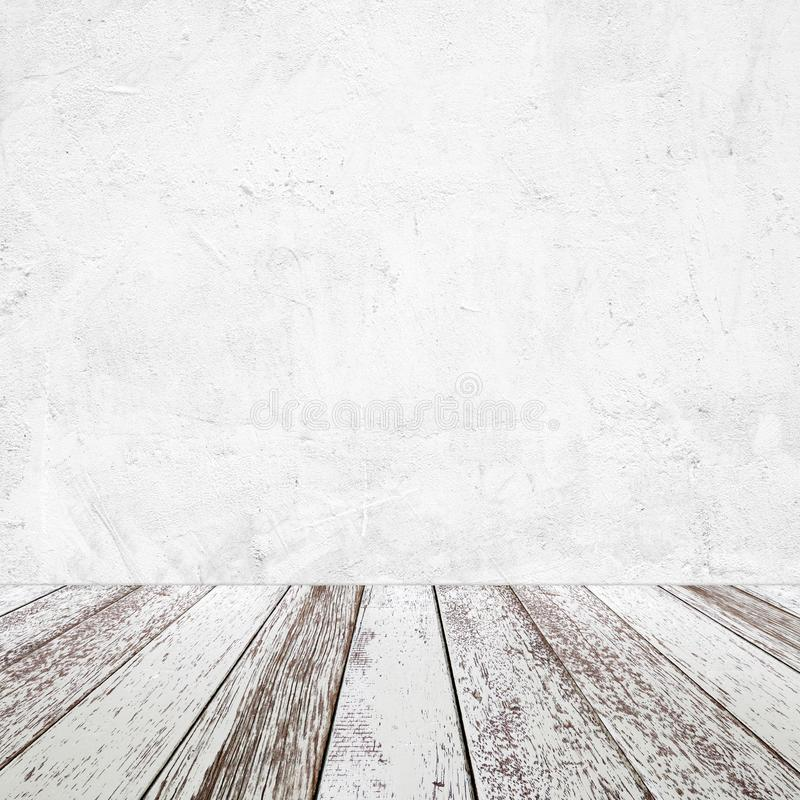 Empty perspective vintage white wood and white cement wall background, room, table top, shelf for product display montage. Background stock photography